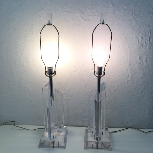 Lucite Vintage Karl Springer Style Lucite Lamps- A Pair For Sale - Image 7 of 9