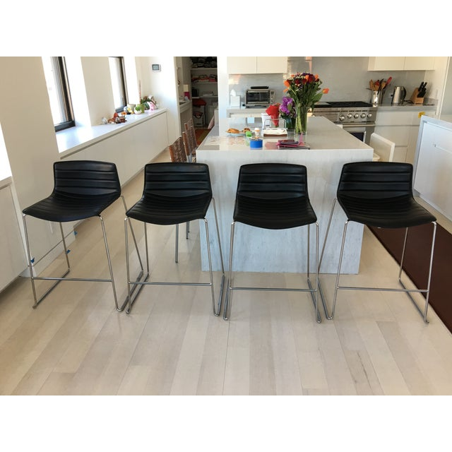 Black Leather Counter Stools by Arper - Set of 4 - Image 2 of 7