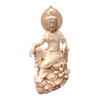 Late 19th Century Chinese After He Chaozong Dehua Porcelain Guanyin on Lotus Throne Sculpture For Sale