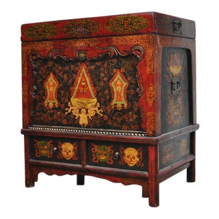 Vintage Painted Red Tibetan Trunk on a Stand
