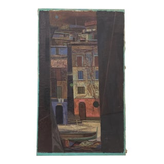 "John Teyral (Russian / American 1912 - 1999) ""Venice Canal"" Original Oil Painting C.1952 For Sale"