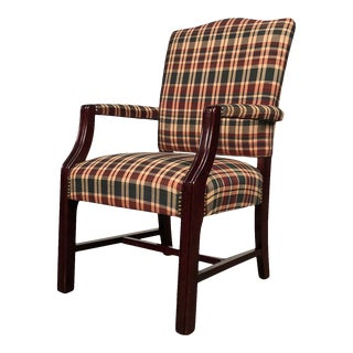 Traditional Mahogany Arm Chair With Upholstered Seat & Back ~ Set of 5 For Sale