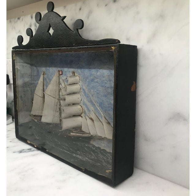 Early 19th Century Diorama Shadow Box of Sailing Vessel For Sale In Portland, ME - Image 6 of 11