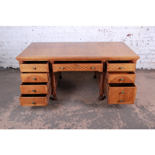 1930s Antique Carved Burled Walnut Executive Lincoln Desk, Chicago, Circa 1930s For Sale - Image 5 of 13