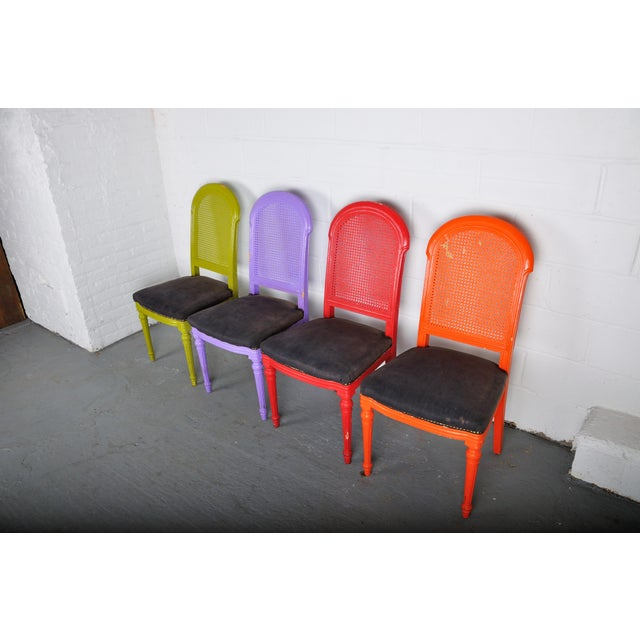 1970s 1970's Vintage French Multicolor Dining Chairs With Cane Back - Set of 4 For Sale - Image 5 of 13
