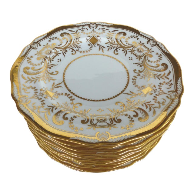 Copeland Spode Gilt Decorated Dessert Plates, Retailed by Wh Plummer- Set of 11 For Sale
