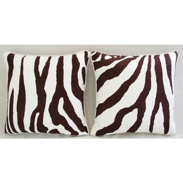 Custom Scalamandre Zebra Linen Pillows - Pair - Image 3 of 11