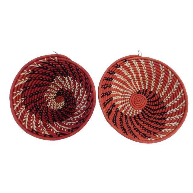 Spiral Handwoven Burundi Baskets - Set of 2 For Sale