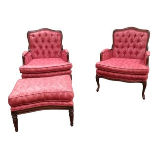 1950s Country French Louis XV Pink Armchairs & Ottoman - 3 Pc. Set