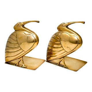 Mid Century Pair Brass Heron or Egret Bookends For Sale