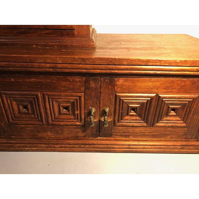 1900 - 1909 Magnificent Hand Carved Mahogany Gothic Style Bookshelf Cabinet For Sale - Image 5 of 11