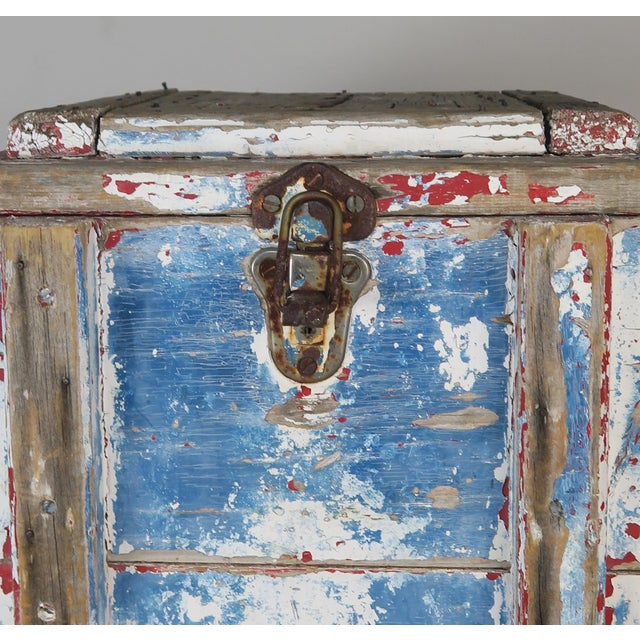 Painted Wood Work Box W/ Metal Clasp and Handles For Sale - Image 10 of 13