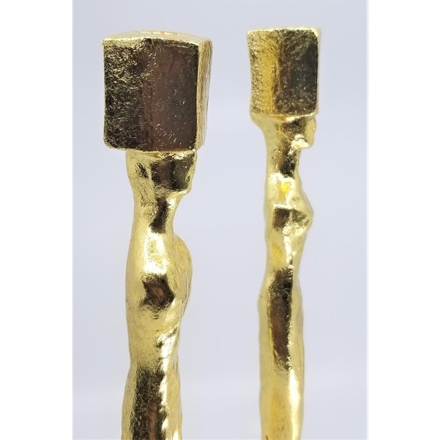 Metal Mid Century Modern Candlesticks - Candle Holders - Giacometti Style - Restored For Sale - Image 7 of 13