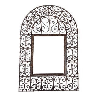 Moroccan Shabby Chic Distressed Wire Metal Mirror Frame For Sale