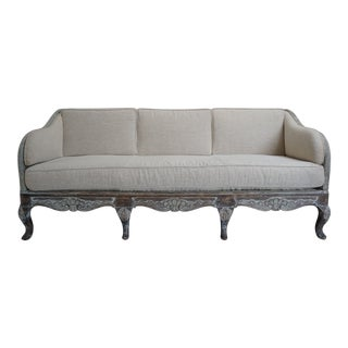 French Louis XV Style Belgian Linen Canape Sofa For Sale