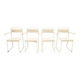 Vintage Vinyl Strap Stacking Mid Century Arm Chairs - Set of 4