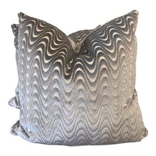 "Slate Wave Cut Velvet 22"" Pillows-A Pair For Sale"