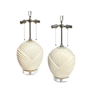 Shell Form Eglomise Lamps in Cream For Sale
