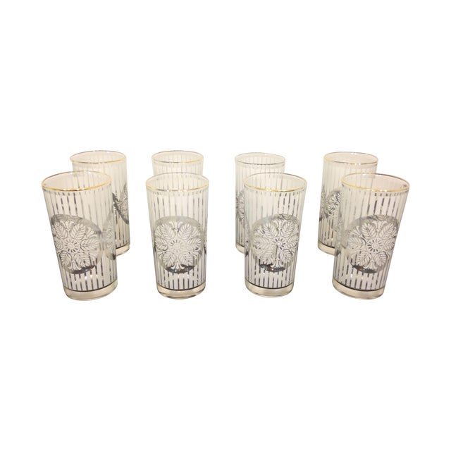 Gold Rimmed Snowflake Highball Glasses - Set of 8 - Image 1 of 4