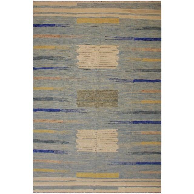 Modern Bauhaus Shultz Blue Hand-Woven Kilim Wool Rug - 8′11″ × 12′3″ For Sale