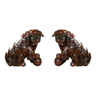 19th Century Chinese Foo Dogs - a Pair For Sale
