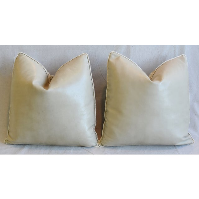 """Italian Embroidered Silk & Leather Feather/Down Pillows 21"""" Square - Pair For Sale - Image 9 of 13"""