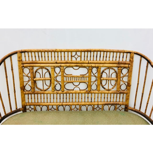 Blue Vintage Scorched Bamboo & Cane Settee For Sale - Image 8 of 13