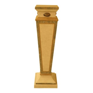 Modern Maitland Smith Style Marble Overlay Gueridon Pedestal For Sale