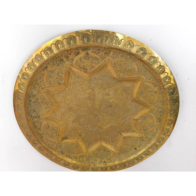 Islamic Middle Eastern Persian Antique Round Brass Tray For Sale - Image 3 of 8