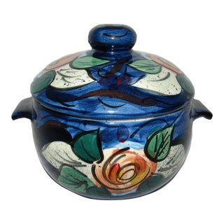 Navy & Floral Lidded Serving Bowl