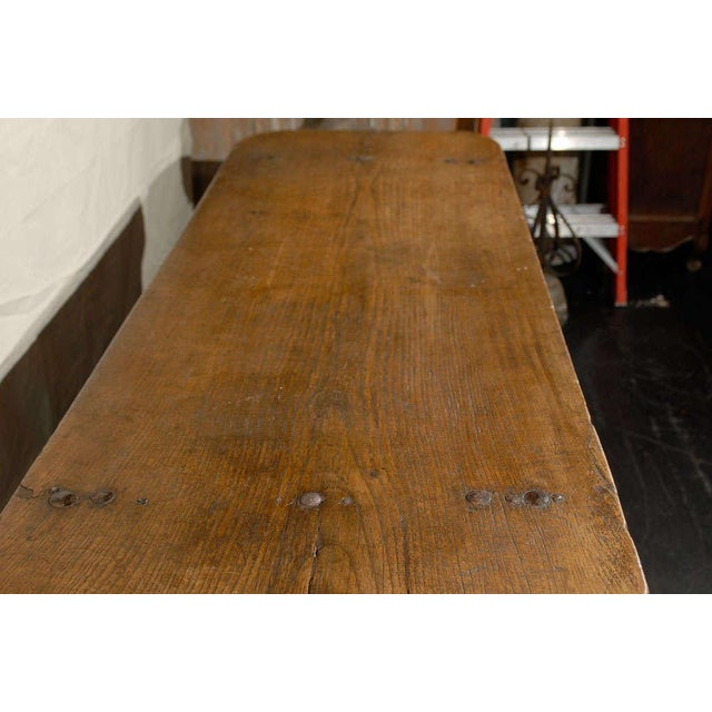 Italian 18th Century Trestle Farm Table With Lyre Shaped Legs For Sale In Atlanta - Image 6 of 10