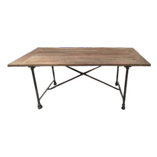 Restoration Hardware Rustic Industrial Rectangle Dining Table Like New For Sale