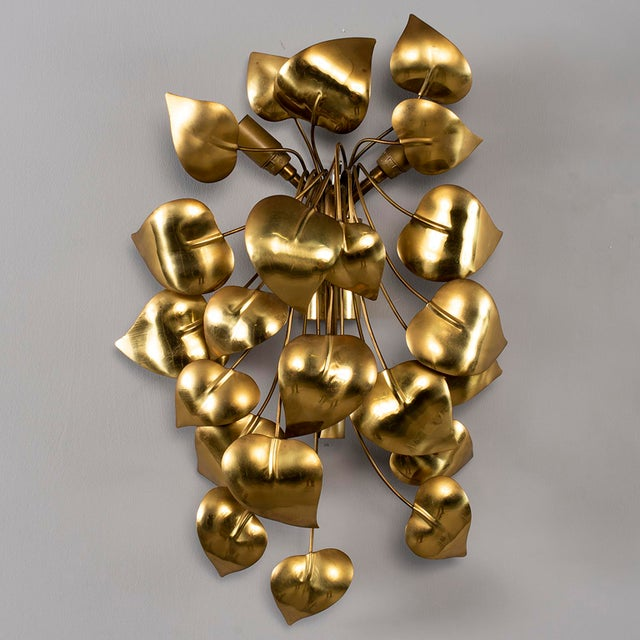 Cascading Leaves Gilt Metal Light Fixture Attributed to Maison Jansen For Sale - Image 13 of 13