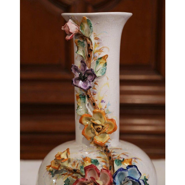 Early 20th Century Large Early 20th Century French Hand Painted Barbotine Vase With Flowers For Sale - Image 5 of 10