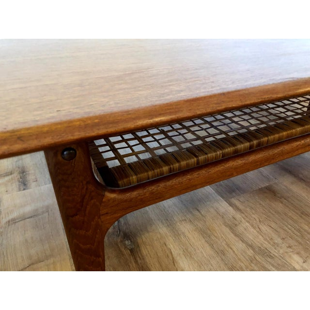 Danish MCM Long Coffee Table With Woven Wicker Shelf by Trioh Mobler For Sale - Image 4 of 9