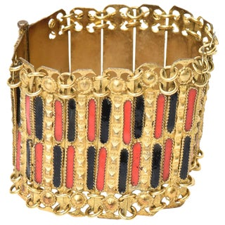 Vintage Grecian Gold Plated Metal and Enamel Cuff Bracelet For Sale