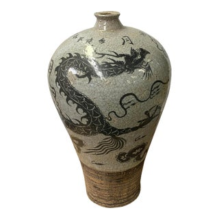 Chinese Crackle Gray Ceramic Hand-Painted Dragon Vase For Sale
