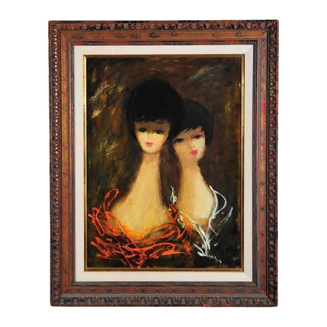 Charles Levier - 2 Women - Mid century Modern - Oil Painting C.1960s For Sale