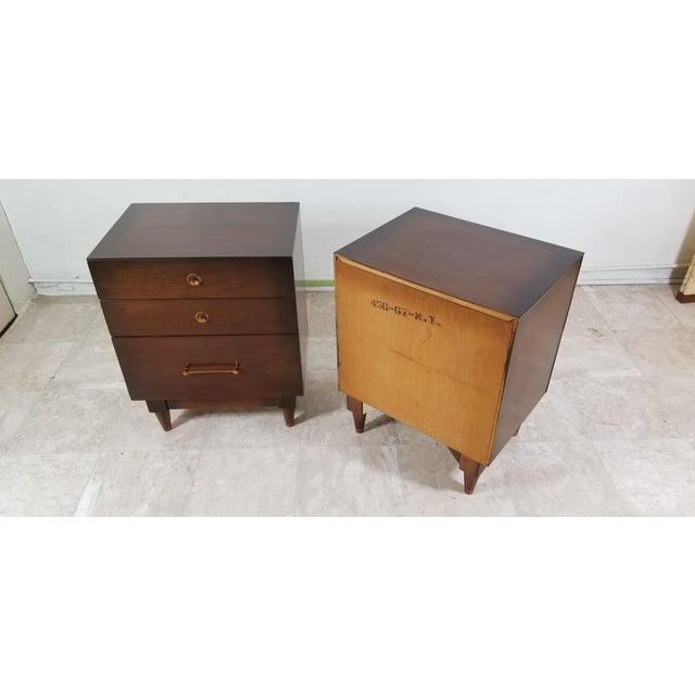 1970s Modern Walnut Nightstands - a Pair For Sale - Image 10 of 13