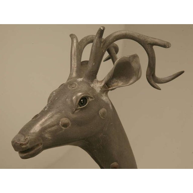 Gray C.1930's French Zinc Stag Sculpture With Bronze Rosettes For Sale - Image 8 of 10