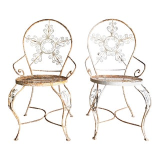 Vintage Metal Wire Garden Chairs - A Pair
