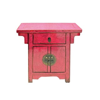 Oriental Simple Distressed Pink Credenza Side Table Cabinet