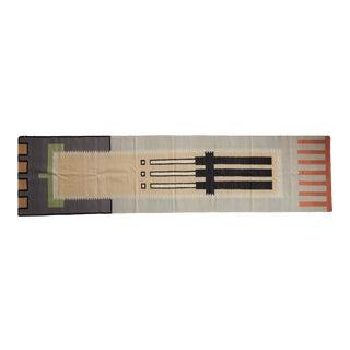 "Vintage Contemporary Kilim Rug Runner - 3'1"" X 12' For Sale"