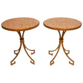 Pair of Italian Iron and Marble Gilt Gueridon Side Tables