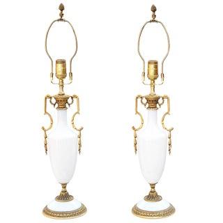 Fine Pair of Opaline Lamps