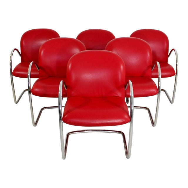 1980s Mid-Century Modern Brueton Red Leather Dining Armchairs - Set of 6 For Sale