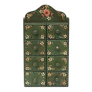 1930s French Hand-Painted 8-Drawer Storage Box For Sale
