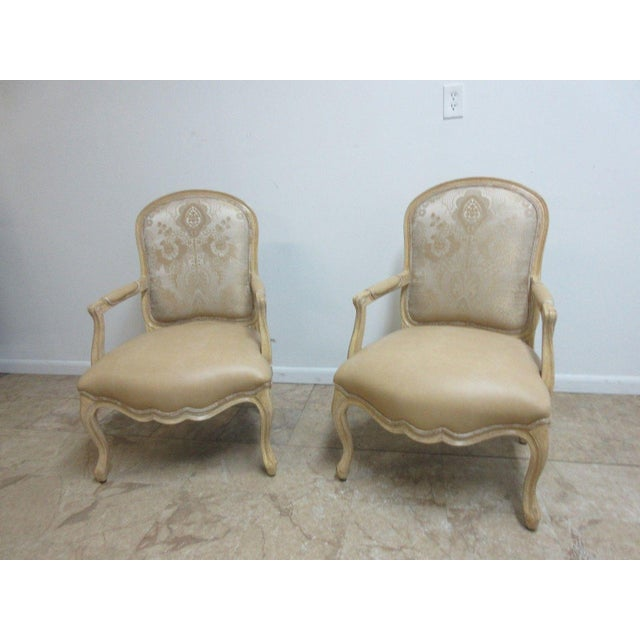 Italian Vintage Louis XV Custom Leather Italian Carved Fireside Lounge Club Chairs - a Pair For Sale - Image 3 of 10