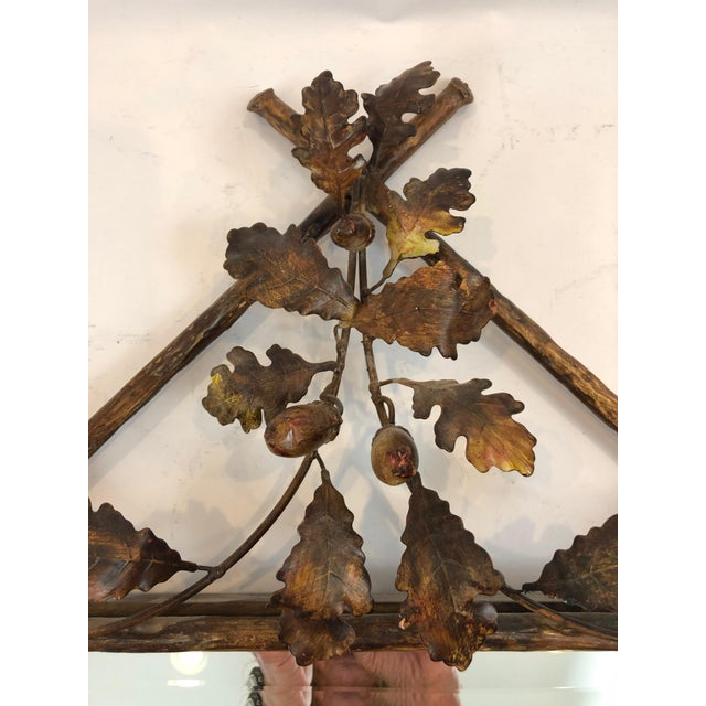 Labarge Gilt Metal Faux Bois Mirror With Leaves and Bird For Sale - Image 4 of 12