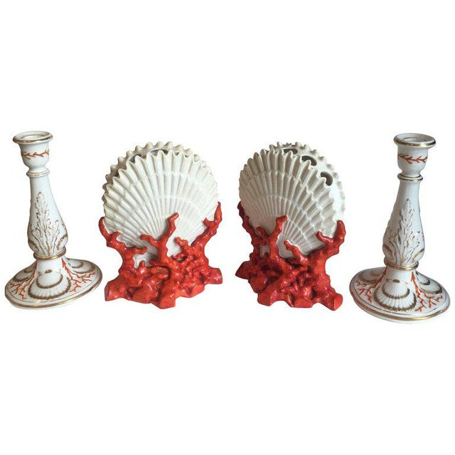 Staffordshire Coral and Shell Porcelain Bud Vases and Candlesticks - 4 Pc. For Sale In New York - Image 6 of 6